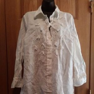 Charter Club L/S Embroidered Linen Blouse EUC!